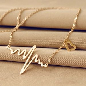 14k Gold Plated EKG Heartbeat Necklace